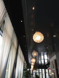 "Glossy dark ceiling sets off pendants @ Los Angeles' ""Faith & Flower"" restaurant, designed by Avroko."