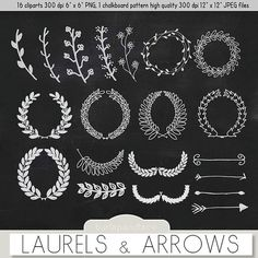 Hand Drawn clipart laurels and arrows, chalkboard clipart laurels and arrows, digital chalkboard laurels and arrows, chalkboard cliparts
