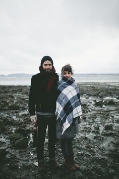 ...bundled, cuddled on a freezing cold beach.