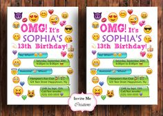 Emoji Birthday Invitation, Emoji Invite, Girl, Personalized, Smiley Face, Emoticons, Iphone, Text, Boy, Teen, Emoji Theme Birthday Party by InviteMeCreations on Etsy https://www.etsy.com/listing/510343652/emoji-birthday-invitation-emoji-invite