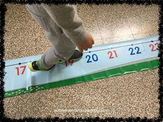 Recta numérica. Aula específica TEA. Fantástico recurso de comprensión numérica.