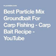 Particle Mix / Ground bait for Carp Fishing - Carp Bait Recipe What carp couldn't resist a high protein fruity seedy snack! Create this simple carp particle . Diy Fishing Bait, Carp Fishing, Snacks, Recipes, Youtube, Appetizers, Ripped Recipes, Youtubers