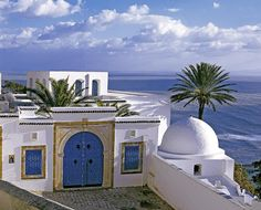The beautiful blue and white village of Sidi Bou Said in Tunisia. Sidi Bou Said, Beautiful Places To Travel, Beautiful World, Santorini, Carthage Tunisia, Hotels, Life Is A Journey, Tourist Places, North Africa