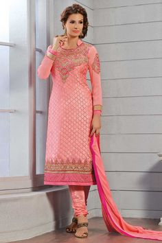 Pink Brasso Churidar Suit and Pink Dupatta Design No. DMV13208  Price  61.22 Product Description New arrival designer collection are now in store presented by Andaaz Fashion like Pink Brasso Churidar Suit and Pink Dupatta. Embellished with Embroidered, Patch, Resham, Stone, Zari, Full Sleeve Kameez, Below Knee Length Kameez, Collar Neck Kameez. This is perfect for Party, Wedding, Festival, Casual, Ceremonial For  More Details Visit Here @ http://www.andaazfashion.us/