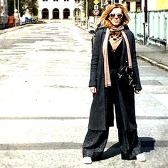Wide trousers, gold scarf, cherries and pearls and white sneakers. But the best is the sun. In love with spring <3