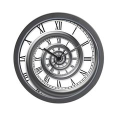 A hypnotic wall clock with a spiral border and receding roman numerals.