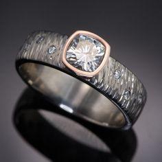 Textured Engagement Ring Cushion Moissanite & Diamonds Accents | Nodeform