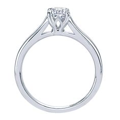 14k White Gold Contemporary Style  Solitaire Engagement Ring