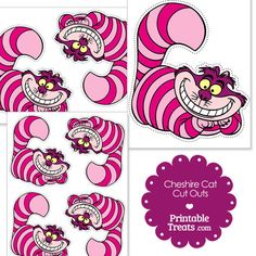 Free Printable Cheshire Cat Cut Outs from PrintableTreats.com