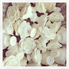 Basket full of Shabby Chic Rose handles available to purchase at www.chicmouldings.com Worldwide Delivery!