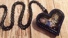 KC Royals MLB baseball heart shaped black floating locket charm necklace