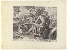 Pieter Jalhea Furnius | Afgunst, Pieter Jalhea Furnius, 1550 - 1625 | De vrouwelijke personificatie van Afgunst (Invidia) zit in het gezelschap van een grote hond en heeft in haar hand een hart dat ze zal gaan opeten. Bovenop haar hoofd kronkelen slangen. Op de achtergrond staat rechts een duivels beest en wordt links gevochten. De prent heeft een eenregelig Latijns onderschrift en maakt deel uit van een serie prenten over de zeven doodzonden.