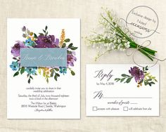 Floral watercolor boho chic wedding invitation set. The watercolor flowers and beautiful fonts are the perfect complement for a shabby chic, rustic, boho chic, or barn wedding. The invites have a white background a watercolor bouquet of colorful flowers. Both look great for the barn weddings, country weddings, boho weddings and so much more.