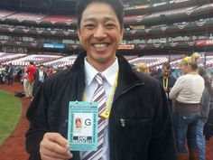 Former Redbird So Taguchi, now a broadcaster for Japan's national TV station, shows off his press pass — which bears his Cardinals team photo. OMG, I LOVED SO!!!!