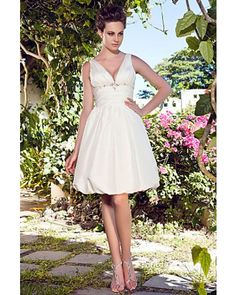 A-line V-neck Knee-length Taffeta Short Wedding Dress | LynnBridal.com