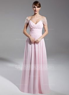 Evening Dresses - $139.99 - A-Line/Princess Off-the-Shoulder Floor-Length Chiffon Tulle Evening Dress With Ruffle Beading (008014708) http://jjshouse.com/A-Line-Princess-Off-The-Shoulder-Floor-Length-Chiffon-Tulle-Evening-Dress-With-Ruffle-Beading-008014708-g14708?ver=xdegc7h0