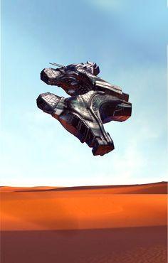Spaceship sci fi cyber 3d concept