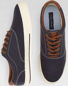 Tommy Hilfiger Paulie Navy Canvas Sneakers...like these a lot to wear w his suit