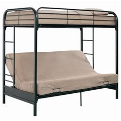Barwick Twin over Futon Bunk Bed by Ameriwood. $328.98. Powdercoat, durable black finish. Guardrails for safety. 2 built-in side ladders. Lower futon converts to full-size sleeper. Sturdy metal construction. The Barwick Twin-over-Futon Bunk Bed offers a versatile arrangement of sleeping and seating space for your child's bedroom. Imagine cuddling on the lower futon while reading a book before your little one goes to bed. The bottom futon bunk converts to a full...