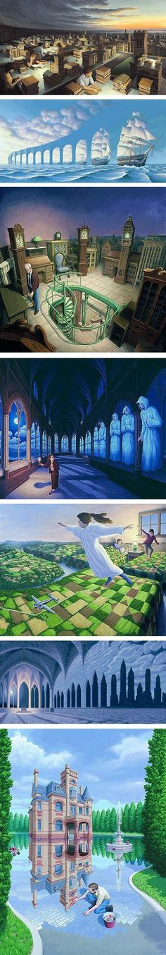 Surrealist Rob Gonsalves, Canadian artist. My favourite is the one with the children going from their beds to flying over the countryside.