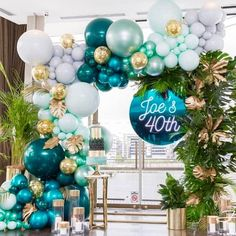 Party Birthday Balloons 51 New Ideas Balloon Garland, Balloon Decorations, Baby Shower Decorations, Balloon Arch, 40th Birthday Parties, Birthday Party Decorations, Green Party Decorations, 40th Birthday Balloons, Birthday Ideas