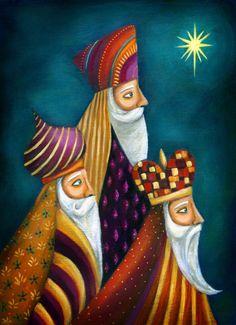 Ileana Oakley - wise men religious Re Magi Christmas Nativity, Christmas Images, Christmas Projects, Christmas Time, Vintage Christmas, Christmas Ornaments, Illustration Noel, Christmas Illustration, Nativity Painting