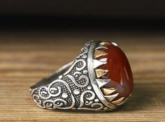 Agate Ring 925 Sterling Silver Turkish Handmade Mens by ATAjewels