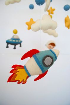 Baby mobile Space Nursery mobile Planets Spaceship Stars Clouds mobile Astronaut Cot Crib mobile Hanging mobile Baby shower Felt mobile 100% wool felt Welcome to «minimez»♥ This lovely baby crib felt mobile with space theme is perfect for a baby boy nursery. Hand-sewn with attention to details from the 100% merino wool felt of highest quality. Each plush element is filled with hypo-allergenic polyester stuffing. All mobiles ship nicely packed and ready to be gifted . Please see my other b...