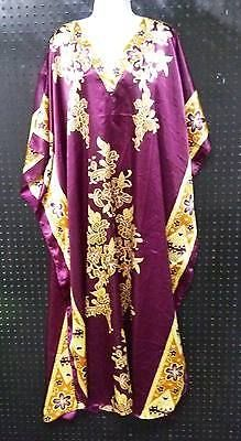 Collections Etc Purple Tunic Style Moo Moo Kaftan Dress One Size Fits All B244