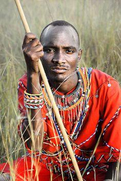 Masai Warrior Portrait    Taken in the Masai Mara, Kenya.... Photography by David Lazar