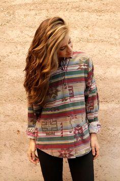 SOUTHWEST 90s bright SLOUCHY ikat style TRIBAL pattern short sleeve womens shirt on Etsy, $36.00