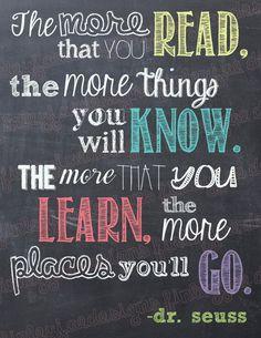 Dr. Seuss Chalkboard imprimable : Le plus que vous lire...