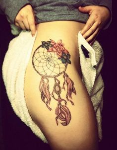 Sexy thigh dream catcher tattoo design.