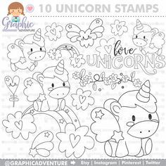Etsy :: Your place to buy and sell all things handmade Unicorn Coloring Pages, Cute Coloring Pages, Coloring For Kids, Coloring Sheets, Coloring Books, Colouring, Unicorns And Mermaids, Cute Unicorn, Digi Stamps