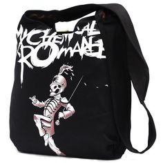 My Chemical Romance Graphic Tote Messenger Bag ($35) ❤ liked on Polyvore featuring bags, messenger bags, messenger bag, courier bag and shoulder bags