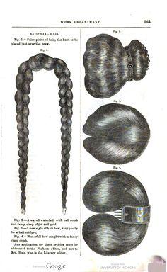 1865 Godey's. False hair.