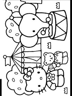 Hello Kitty Is At The Circus In This Colouring Page Free Printable Pages