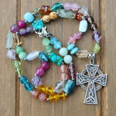 Rainbow Gemstones, Beaded Necklace, with Celtic Cross Pendant, Jewelry gifts for women, boho by KnottedUp by KnottedUpJewelry, $78.20 USD