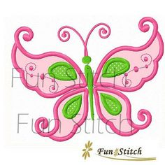 swirly butterfly applique machine embroidery design by FunStitch