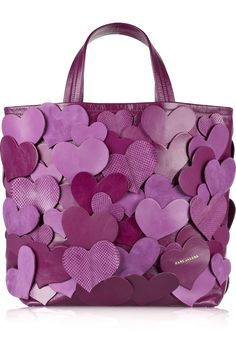 Big Heart leather tote by Marc Jacobs - one of my fav bags to own Leather Craft, Leather Bag, Purple Bags, Purple Purse, I Love Heart, All Things Purple, Shades Of Purple, Leather Working, Purses And Bags