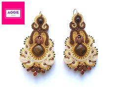 Long brown-beige soutache earrings