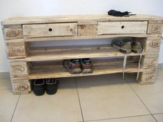 shoe rack large filler from pallets with 2 drawers palettenmobel
