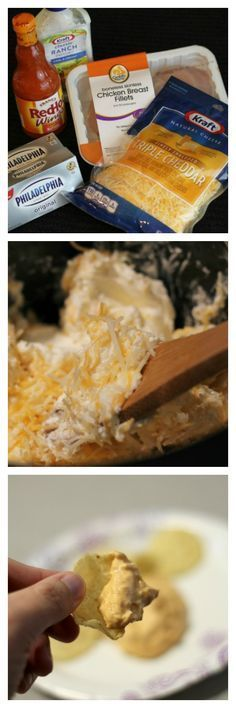This Crockpot Buffalo chicken dip recipe is served warm with chips or celery…