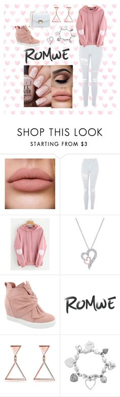 """heart hoodie romwe"" by cecilvenekamp ❤ liked on Polyvore featuring Topshop, Top Moda, ChloBo, love, Pink and heart"