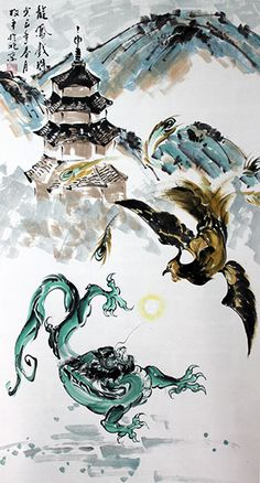 Dragon Phoenix Large Chinese Painting Art Wall Scroll : Chinese Calligraphy Art for Sale Online Chinese Calligraphy, Calligraphy Art, Chinese Painting, Painting Art, Art Paintings, Phoenix Chinese, Chinese Dragon Art, Phoenix Tattoo Design, Art For Sale Online