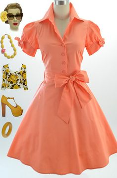 50s Style Coral Tie Sleeve Full Skirt Rockabilly Pinup Day Dress w Sash Belt | eBay