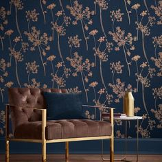 Anthriscus Dusk Wallpaper combines a deep navy blue palette with pops of contrasting copper metallic silhouettes. Check it out now at Graham & Brown. Navy Wallpaper, Blue Wallpapers, Home Wallpaper, Wallpaper For Walls, Wallpaper For Living Room, Blue Wallpaper Bedroom, Large Print Wallpaper, Interior Wallpaper, Flower Wallpaper