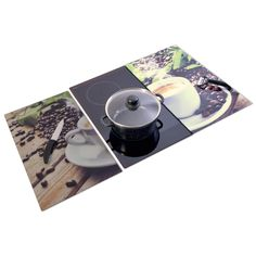 Herdabdeckplatten - Kaffee-Motiv - Glas - 2er-Set Turntable, Kitchen Stuff, Music Instruments, Fett, Material, Safety Glass, Cover Up, Kaffee, Cleaning