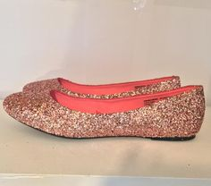 dc659ab1319 Women s Sparkly Metallic Rose Gold Pink Glitter ballet Flats wedding bride  prom shoes