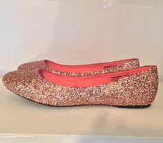 Women s Sparkly Metallic Rose Gold Pink Glitter ballet Flats wedding bride  prom shoes 90888b83fc70